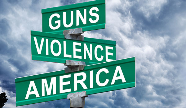 Image of street signs Guns Violence America